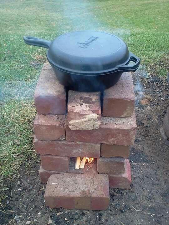 Red brick rocket stove