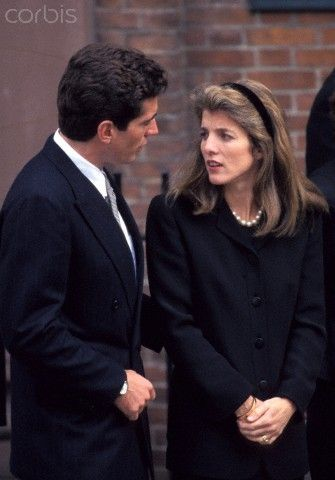 John F. Kennedy, Jr. with his sister Caroline Kennedy at the Funeral Service for their grandmother Rose Kennedy