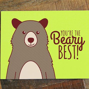 Friendship or Love Card, You're the Beary Best! - pun card, bear card, greeting…