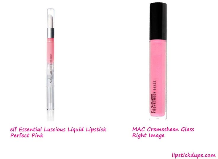 MAC Cremesheen Glass in Right Image dupe elf Essential Luscious Liquid Lipstick in Perfect Pink www.lipstickdupe.com