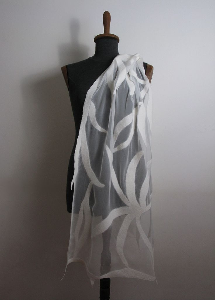Elegant White nuno felted shawl Silk Wool Scarf Shawl Wrap Hand felted scarf for Woman 100% natural Design shawl