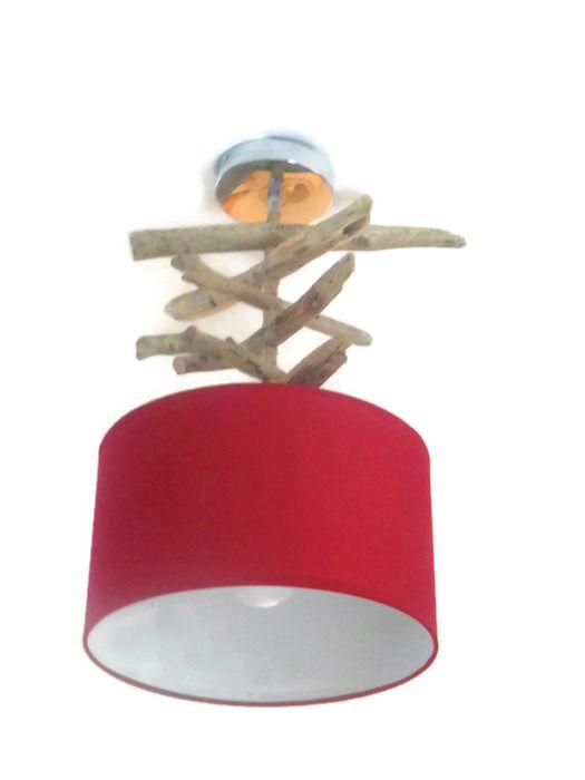 Lustre - suspension - plafonnier en bois flotté - rouge 30 cm - création unique : Luminaires par un-jour-de-pluie72
