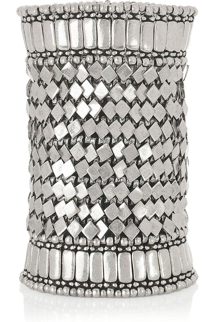 """utah"" silver-plated beaded cuff   philippe audibert"