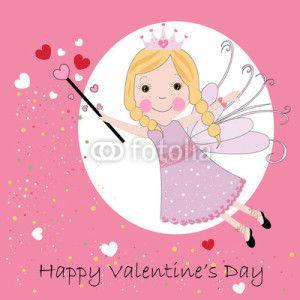 Peri Kızı Vektör Tasarımlarım * Happy valentine`s day greeting card fairy