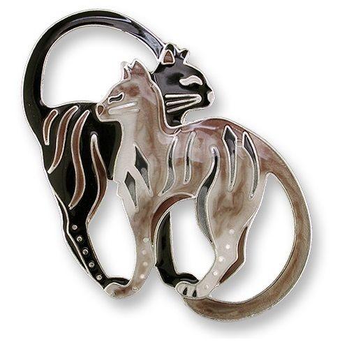 Cat Pair Pin | Enamel Bluebird and Dogwood Pin | Zarah Jewelry