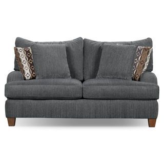 Give your home an instantly cozy and welcoming look with the Putty loveseat. Covered in velvety, soft, dark brown chenille, this wonderful upholstery piece is sure to make family time comfortable. Low-cut, curved arms and plush, pillow-back design means this piece will flawlessly match any room décor, modern or traditional. The look is completed by contrasting accent cushions and merlot-finished feet.