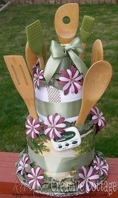 love this bridal shower cake idea… I've seen towel cakes and diaper