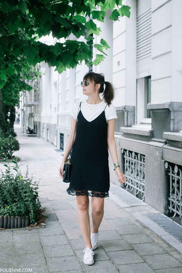 POLIENNE | wearing ZARA slip dress, H&M white tee, COACH bag & CONVERSE sneakers