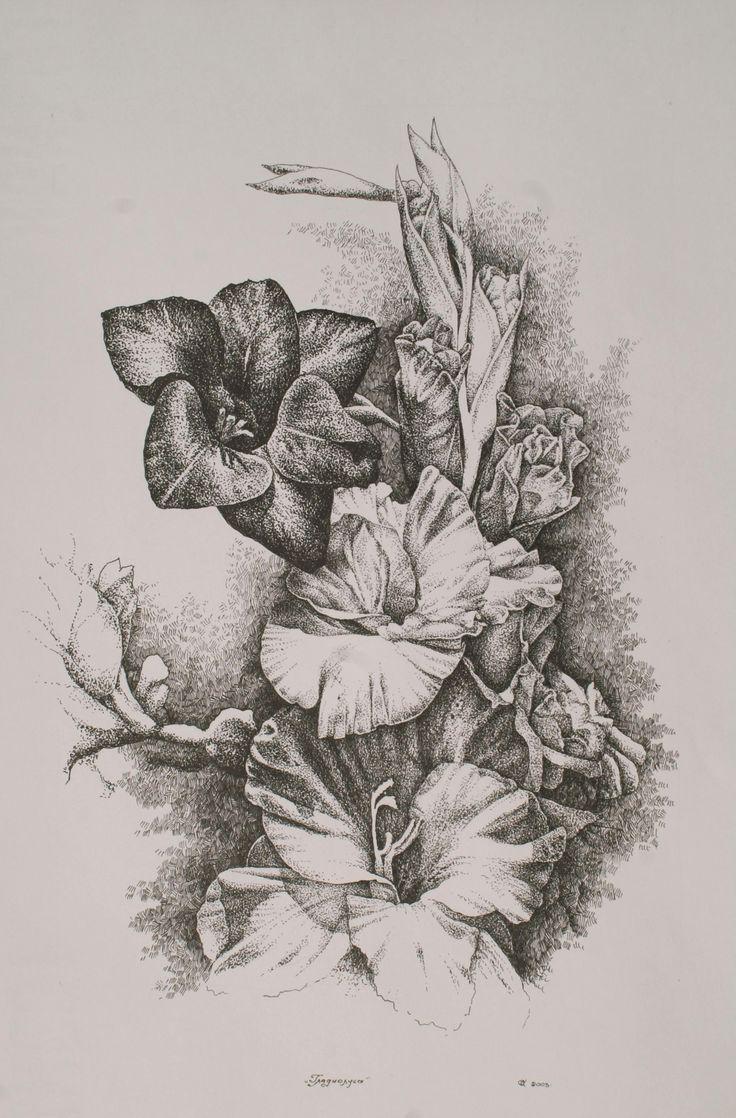 Картины цветов карандашом картинки