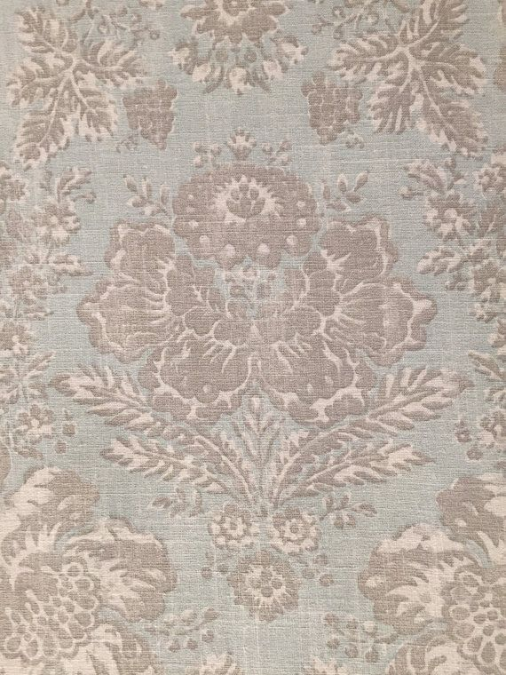 Light Blue, Light Grey, and  White Farmhouse Floral - Upholstery Fabric by the Yard