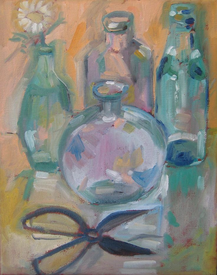 """Cut flower.  Oil on stretched canvas.  8"""" x 10"""""""