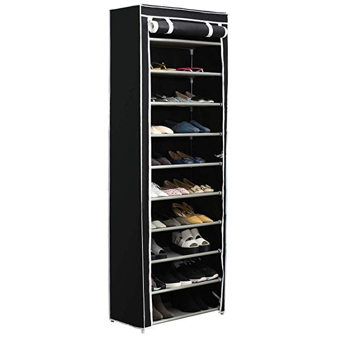 Home Like 10 Tier Shoe Rack With Dustproof Cover 30 Pair Shoe Organizer Shoe Rack Tower Zippered Storage Shoe Cabinet In Black Ideal For Hallway Corridor L24 02 Shoe Rack Tower Shoe Rack Bench