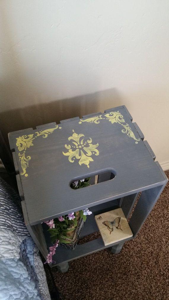 Gray Wooden Crate Nightstand With legs Hand door Crateyourhome