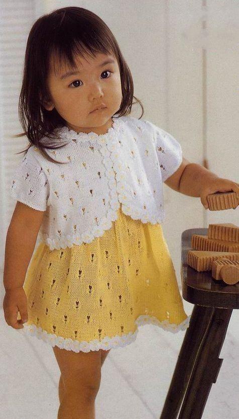 Жакет спицами для девочки. Детское платье cпицами