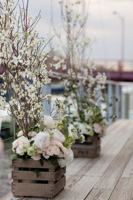 Dogwood, Peony, Lilac, Rose Altarpieces in vintage wooden crates by XOXO Vintage Rentals Lesley and Clayton's Wedding Photo By Liz and Ryan