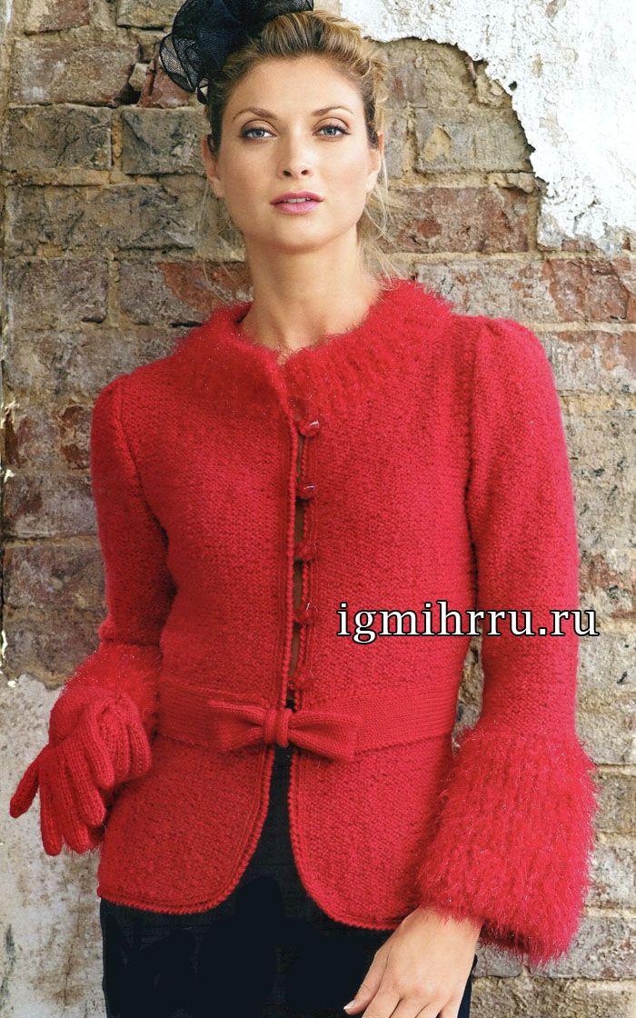 Французская элегантность: красный жакет с бантиком и перчатки (спицы). Обсуждение на LiveInternet - Российский Сервис Онлайн-Дневников
