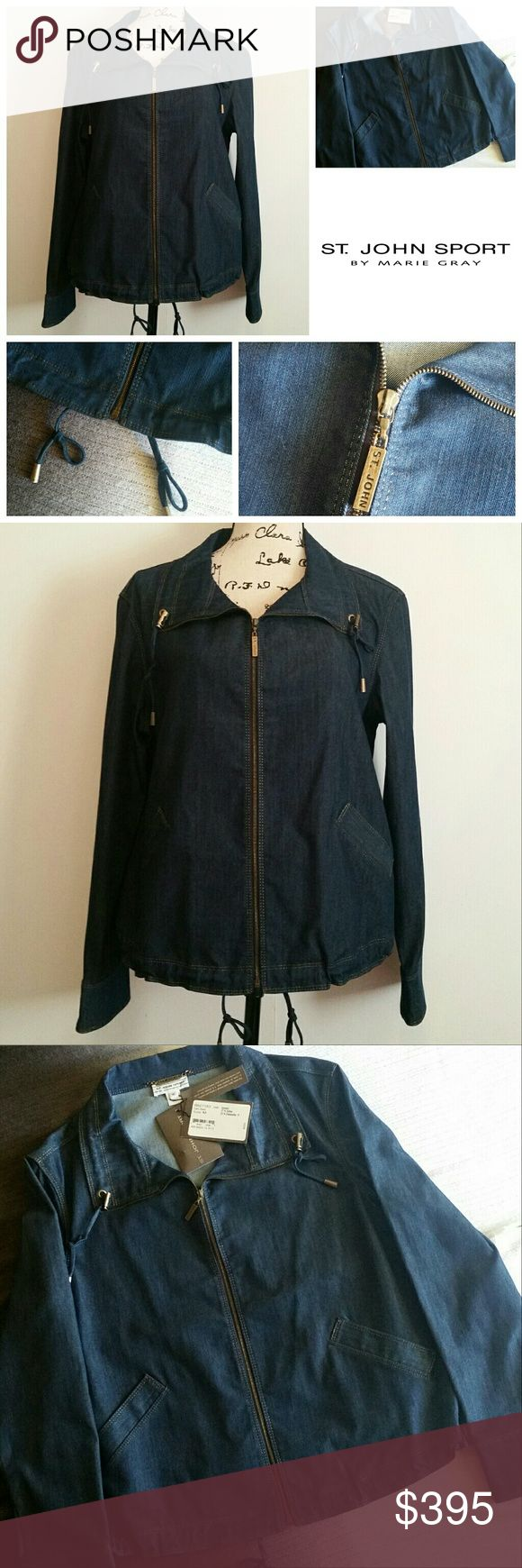 NWT! St. John Sport Jean Sailing Jacket Exquisite! New with tags. Never worn. Perfect condition. Gold threading. Cinching ties on the collar and the waist line. Jean material that is UBER soft! Feels like butter. Sailing jacket, but can be worn anytime, any day! Dark wash. 77% Cotton 23% Elasterelle. Size Medium. Packet with extra hardware. Enjoy!! St. John Jackets & Coats Jean Jackets