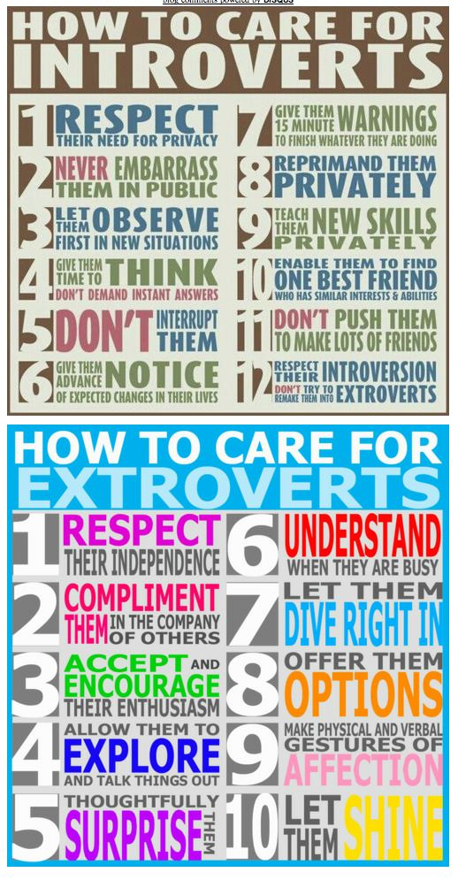Wow, I wish my mom had used these guidelines when raising me! Instead throughout my childhood and teenage years she tried her best to turn someone who was happy as in introvert into an extrovert. The result was being in constant anxiety and misery. At least I know to respect my children (when I have them), whether they are an introvert like me, or an extrovert like their Daddy. ♥