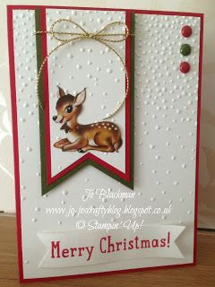 handmade Christmas card from Jo-Jo's Crafty Blog ... luv the little fawn fussy cut from designer paper ... falling snow look from embossing folder texture ... delightful! ...Stampin' Up!