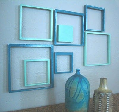 Cheap Decor Idea!  Love this! You could use all these different crappy frames painted to the color of your choice.