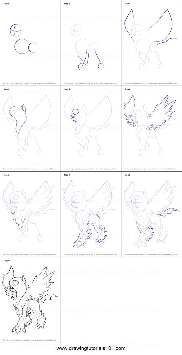 How To Draw Absol From Pokemon Printable Step By Step Drawing Sheet :  Drawingtutorials101