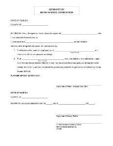 Affidavit of Home School Completion