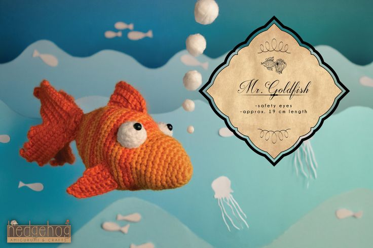 "Goldfish amigurumi crochet toy, great for birthday gift or baby shower. Created by ""Hedgehog - Amigurumi & Crafts""."