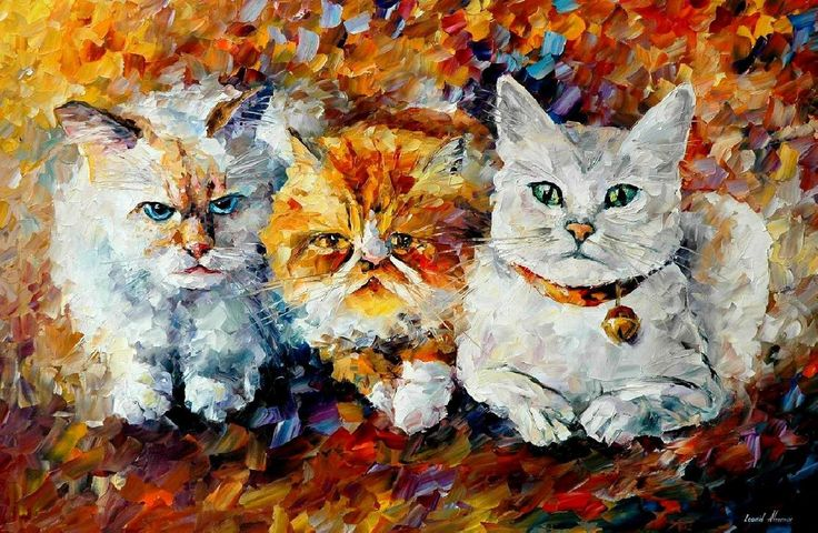 """Kittens"" by Leonid Afremov ___________________________ Click on the image to buy this painting ___________________________ #art #painting #afremov #wallart #walldecor #fineart #beautiful #homedecor #design"