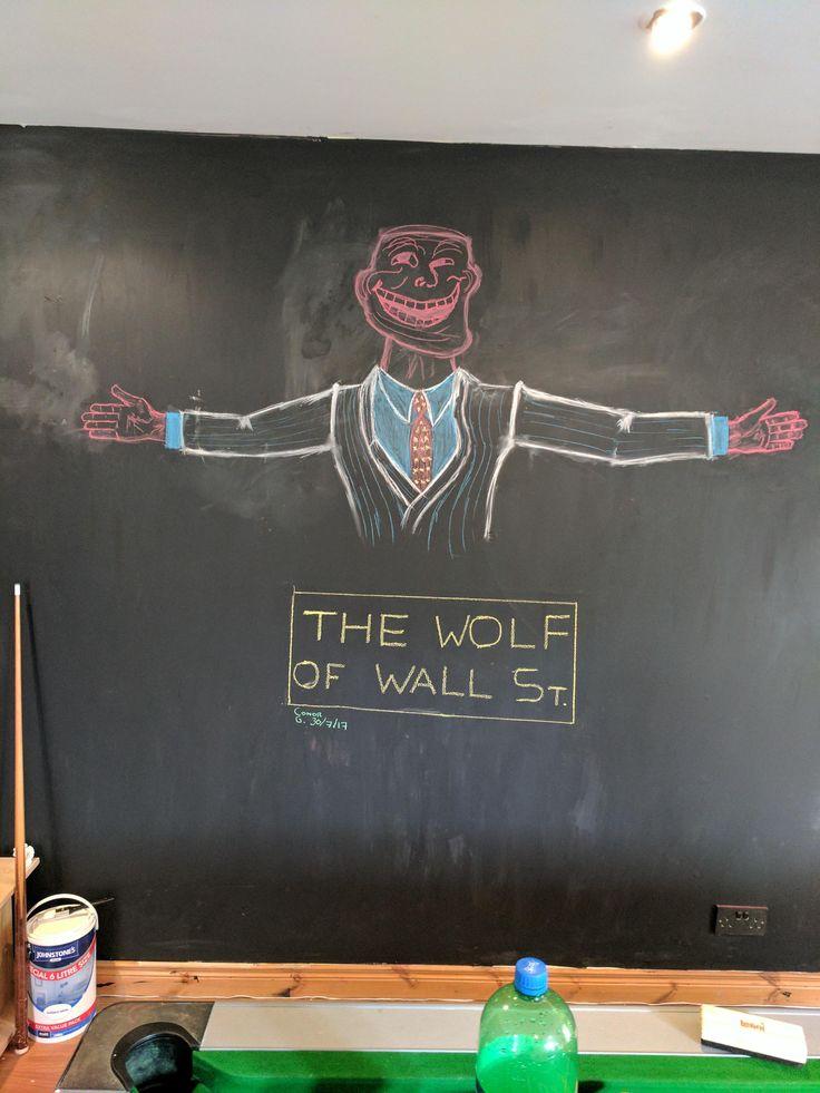 Today I drew this on my friends blackboard wall... I call it the troll of wall Street [OC