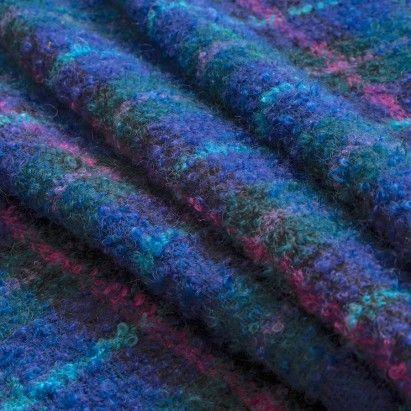 Purple/Blue/Fuchsia/Green Plaid Mohair Boucle Fabric by the Yard | Mood Fabrics