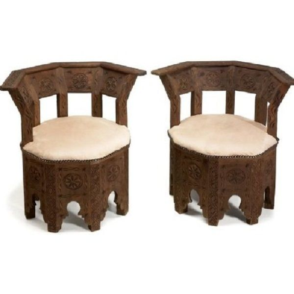 Exceptional Moroccan Bedroom Furniture Ivory Seat Pad Wooden Chairs Ethnical Sense .