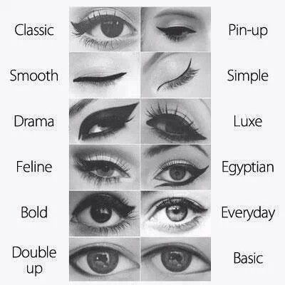 Eye liner looks. Different styles and looks.Great ideas ...