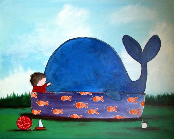Whale Nursery Art Print Cute 8x10 Childrens Art Kids by andralynn