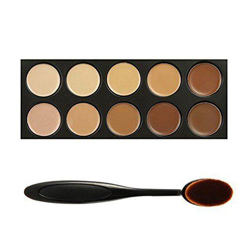 Tinabless 10 Couleurs Correcteur Palette Kit Camouflage Maquillage Complet Couverture Crème Correcteurs + Brosse à dents Ovale Pinceaux:…