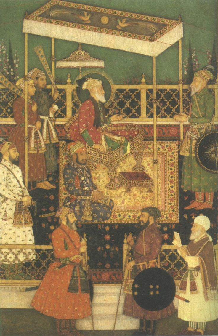 Qutb ud-Din Muhammad Mu'azzam Shah Alam I is the one in green facing his father Emperor Aurangzeb Alamgir I