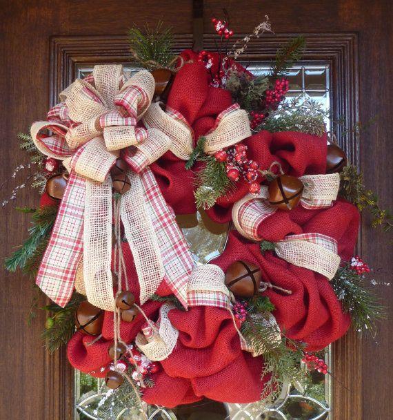 BURLAP and JINGLE BELLS Christmas Wreath by decoglitz on Etsy
