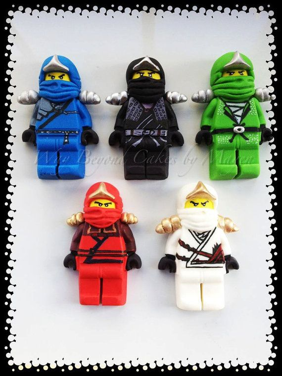 Custom Gumpaste Lego Ninjago inspired Cake Toppers, whole set of 5 ninjas and sensei wu. $150.00, via Etsy.