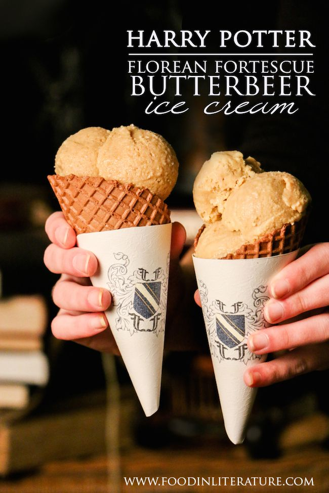 Based on 'real' Butterbeer with all its warm creaminess (if you haven't made it yet, it's amazing!), we've made this Butterbeer ice cream version to enjoy on warm summer days. Note, this is alcoholic, so it's just for us adults! http://inliterature.net/food-in-literature/2014/07/florean-fortescue-butterbeer-ice-cream-recipe-harry-potter.html
