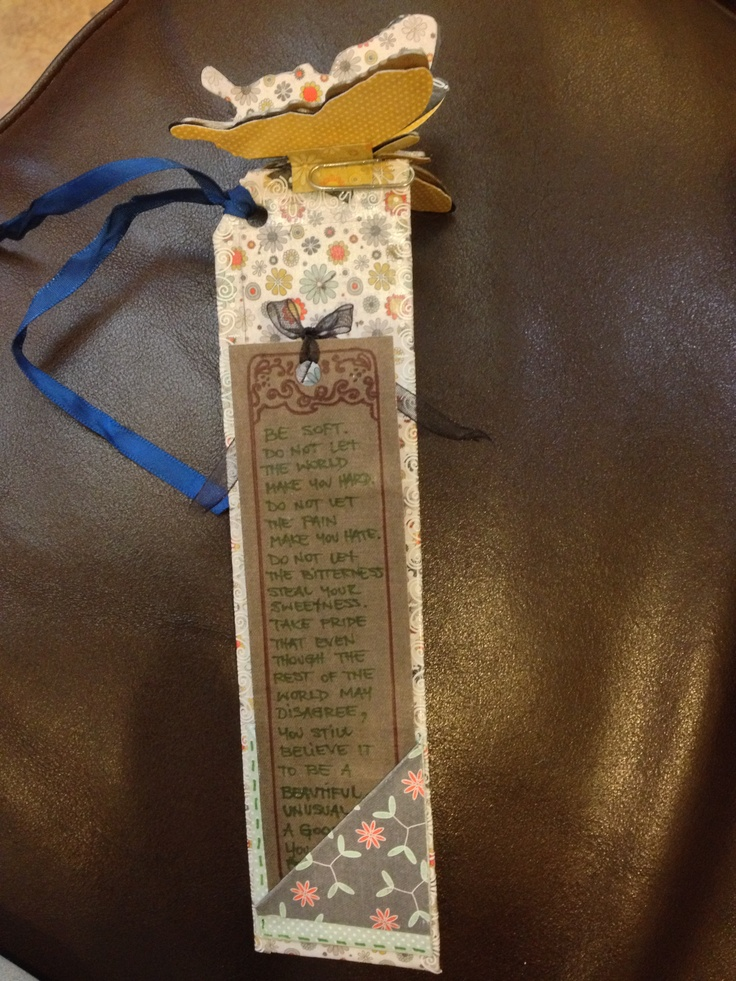 Diy scrap paper bookmark with butterfly on