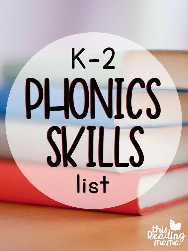 K-2 Phonics Skills List - get the cheat sheet! - This Reading Mama
