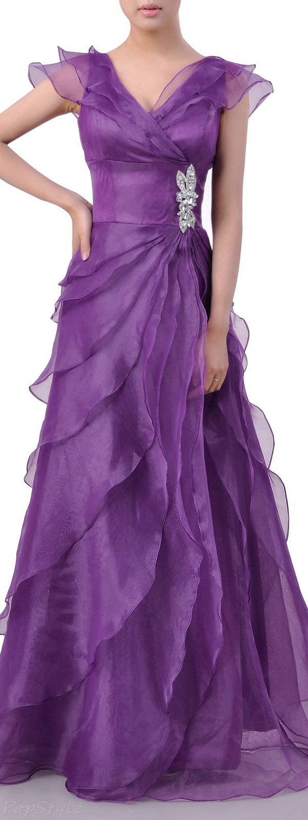 Adorona Long A-Line Ruffled Formal Evening Gown