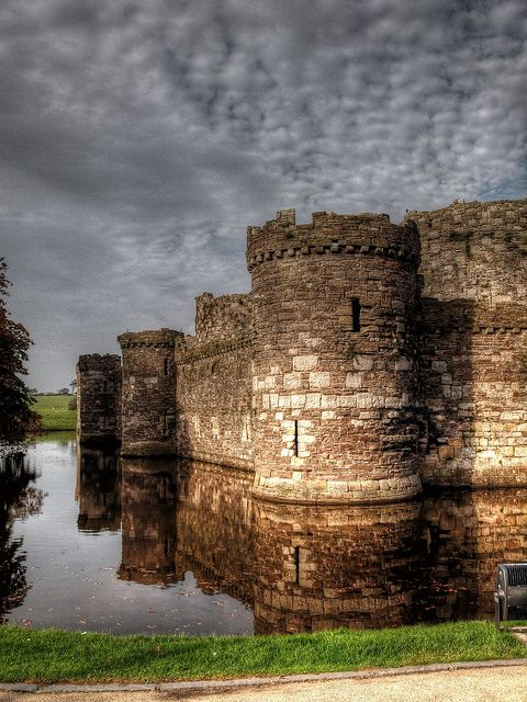 Beaumaris Castle Anglesey,Wales UK. Located in the town of the same name on the Isle of Anglesey in Wales, was built as part of Edward I's campaign to conquer the north of Wales after 1282.