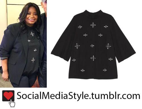 Buy Octavia Spencer's Good Morning America Black Rhinestone Embellished Blouse, here!