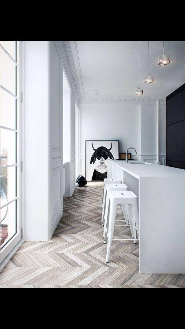 White Kitchen with grey parquetry floor