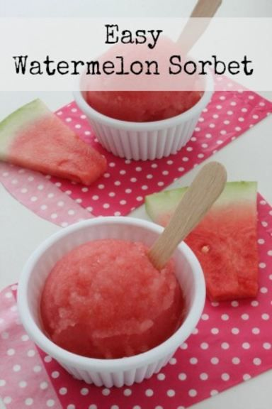Easy Watermelon Sorbet dessert Recipe. Perfect treat for a summer day!
