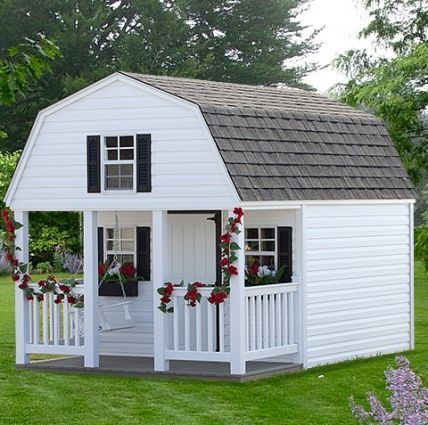 Solid wood amish mae white double dutch playhouse for Dutch playhouse