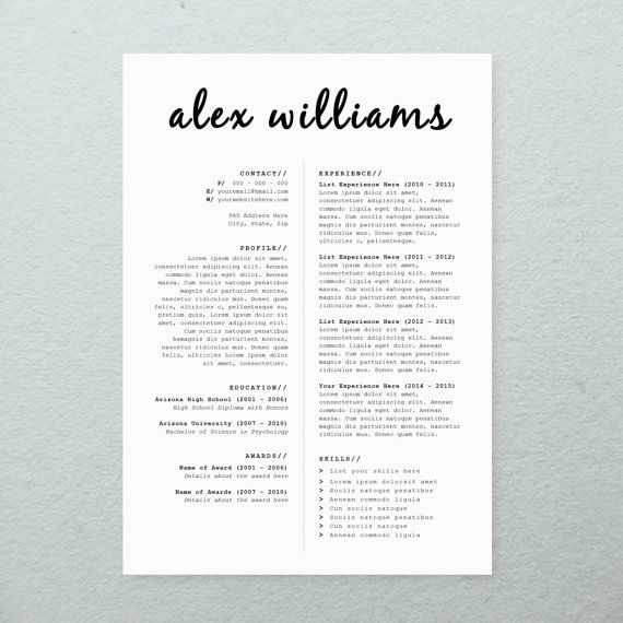 cv design   cover letter  printable resume template  instant download  microsoft word