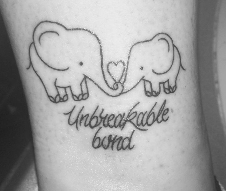 Mother daughter tattoo, Unbreakable bond, elephant