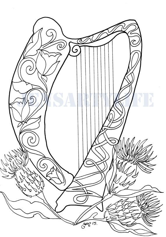 Celtic Harp Colouring Page