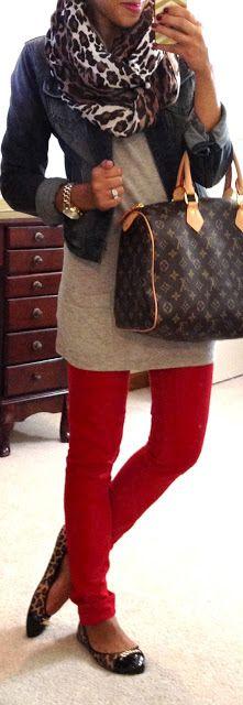 Cute. .Red skinny pants/ long gray sweater short crop jacket in black & Louis bag!